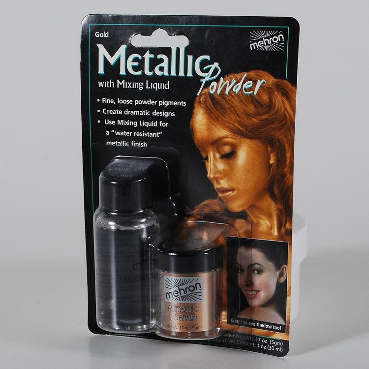 Mehron Metallic Powder - Gold 5 gr + Mixing Liquid 30 ml