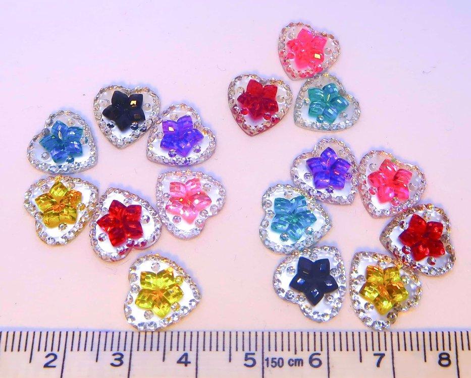 Strass Resin Diamond Hart Flower Mix Colors