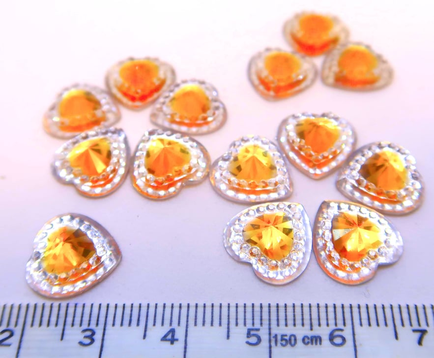 Strass Resin Diamond Heart - Heart Gold