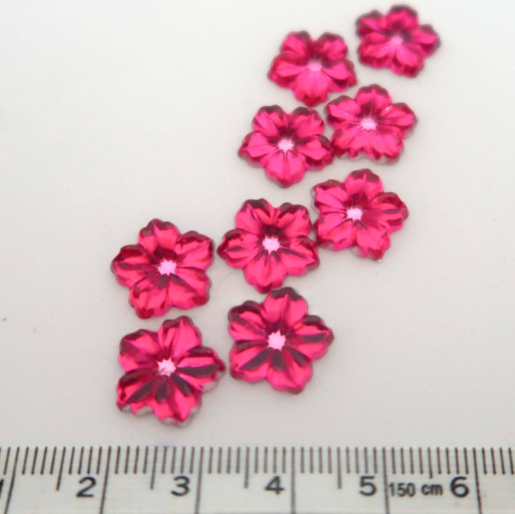 Strass Resin Flower Dark Pink