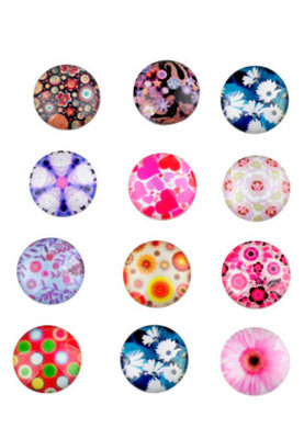 Cabochon Mix Flowers 14mm
