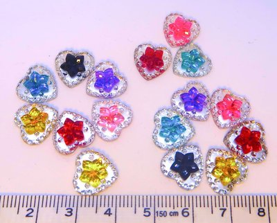 Strass Resin Diamond Hart Flower Mix Colors
