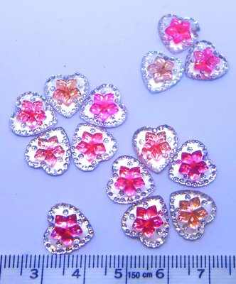 Strass Resin Diamond Hart Flower Mix Light Pink - Pink