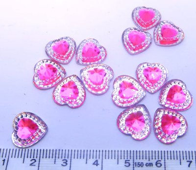Strass Resin Diamond Heart - Heart Pink