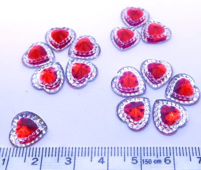 Strass Resin Diamond Heart - Heart Red